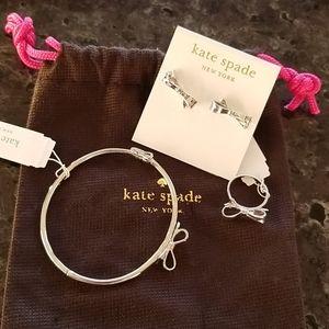 Kate Spade silver bow ring, bracelet & earring set
